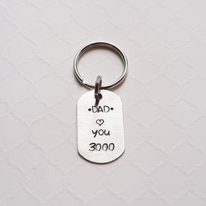 dad tiny dog tag keychain