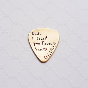 Bronze father-of bride custom guitar pick