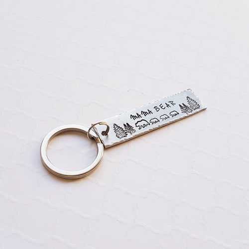 Silver bar keychain with mama and baby bear forest scene