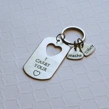 Load image into Gallery viewer, dog tag keychain with cut-out name hearts