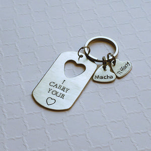 dog tag keychain with cut-out name hearts