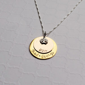 two-layer mixed metal name necklace for mom with tree charm