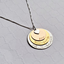 Load image into Gallery viewer, three-layer mixed metal name necklace for mom with heart charm