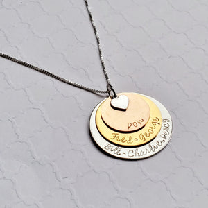 three-layer mixed metal name necklace for mom with heart charm