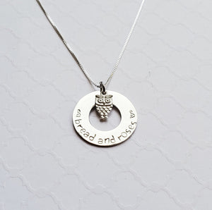 "silver ""bread and roses"" washer necklace with owl charm"
