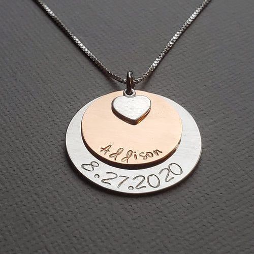 two-layer silver and rose gold mom name necklace with heart charm