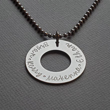 Load image into Gallery viewer, custom silver washer necklace with kids names