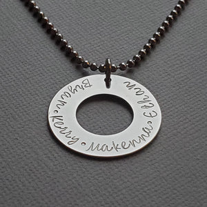 custom silver washer necklace with kids names