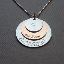 Load image into Gallery viewer, three-layer silver and rose gold name necklace for mom