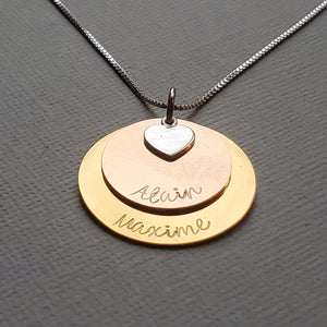 two-layer mixed metal name necklace for mom with heart charm