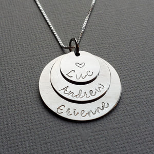 three-layer silver name necklace for mom with kid's names