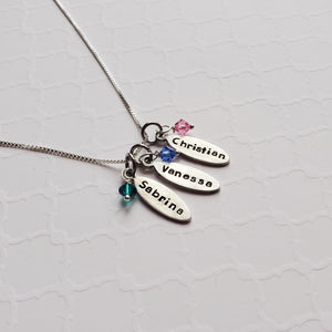 mom necklace with tiny kids' name charms and birthstones