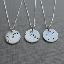 Load image into Gallery viewer, zodiac constellation stamped silver disc necklace