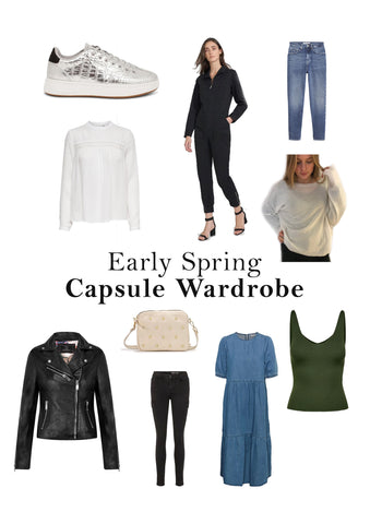 early spring capsule wardrobe with jeans, trainers, leather jacket, denim dress and layering pieces.