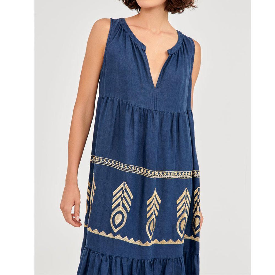 greek archaic kori feather embroidery dress - JAVELIN