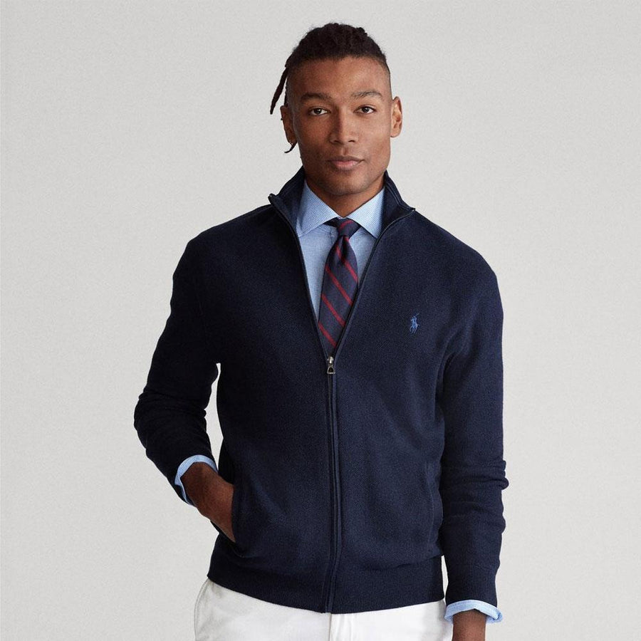 ralph lauren cotton full zip sweater - JAVELIN