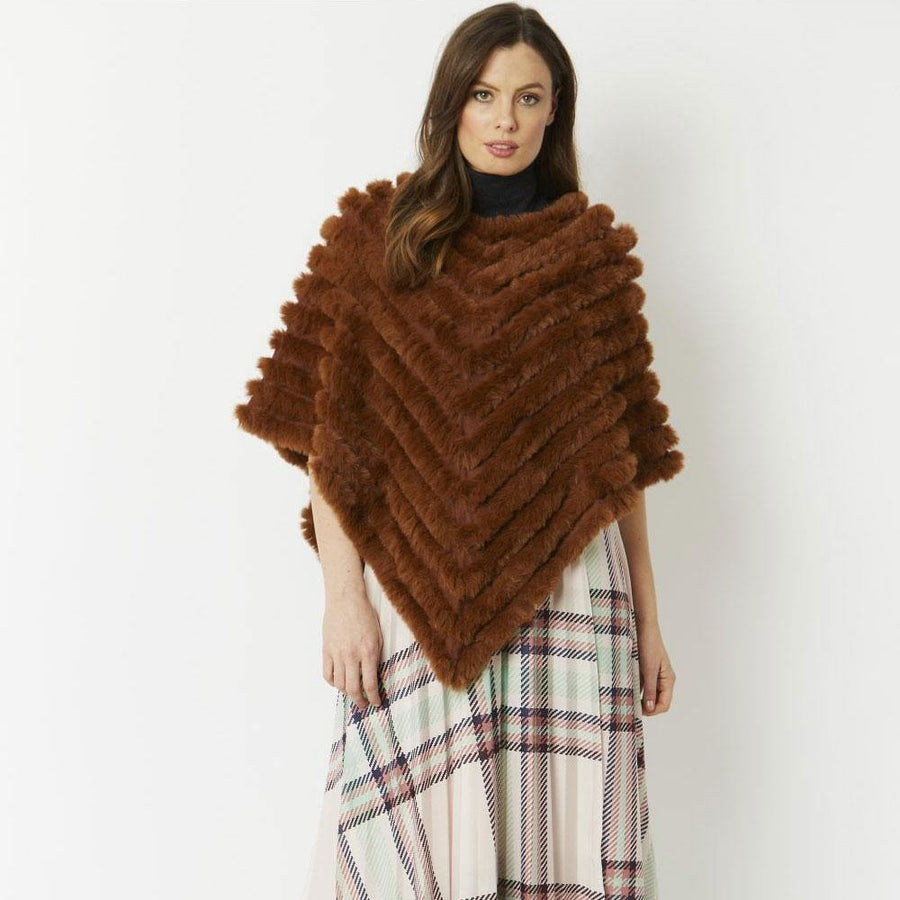 jayley cashmere blend faux fur poncho - JAVELIN