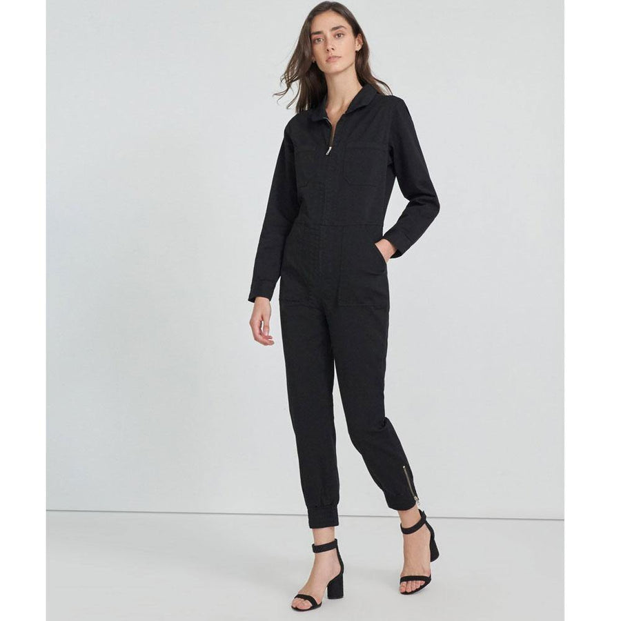 j brand arkin long sleeve playsuit - black - JAVELIN