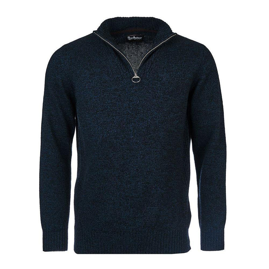 BARBOUR ESSENTIAL LAMBSWOOL HALF ZIP SWEATER - JAVELIN