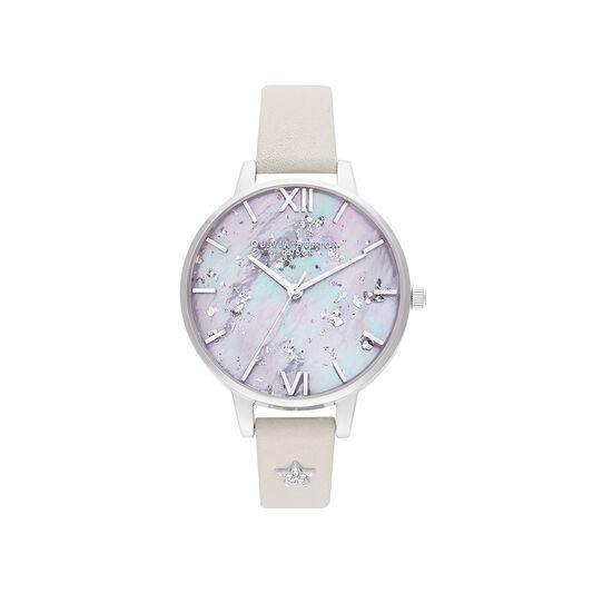 olivia burton celestial star mother of pearl blush & silver watch