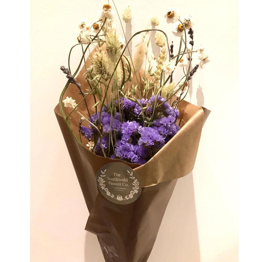 purple or blue dried flower bunch-collection only