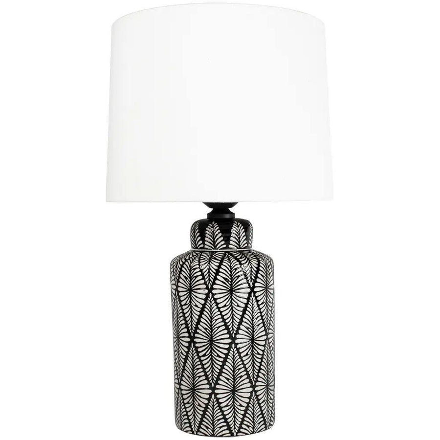 Lamp Indochine Noir With Ivory Shade
