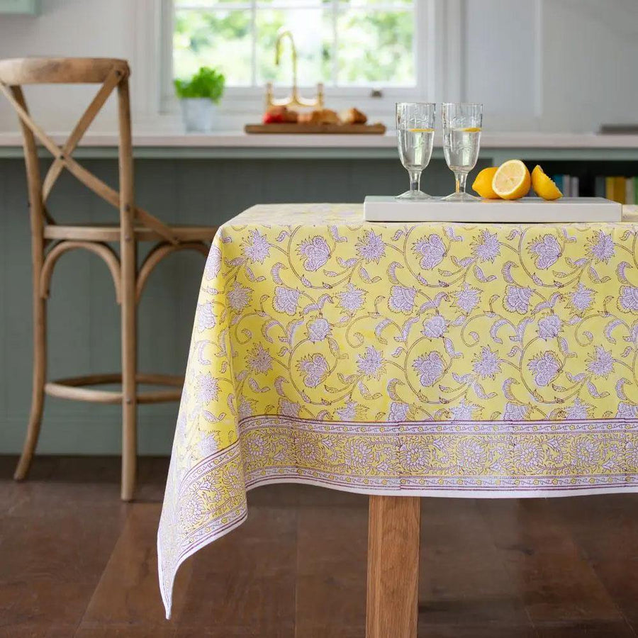 lemon/berry cotton hand block print tablecloth