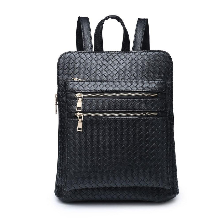 zipped woven backpack
