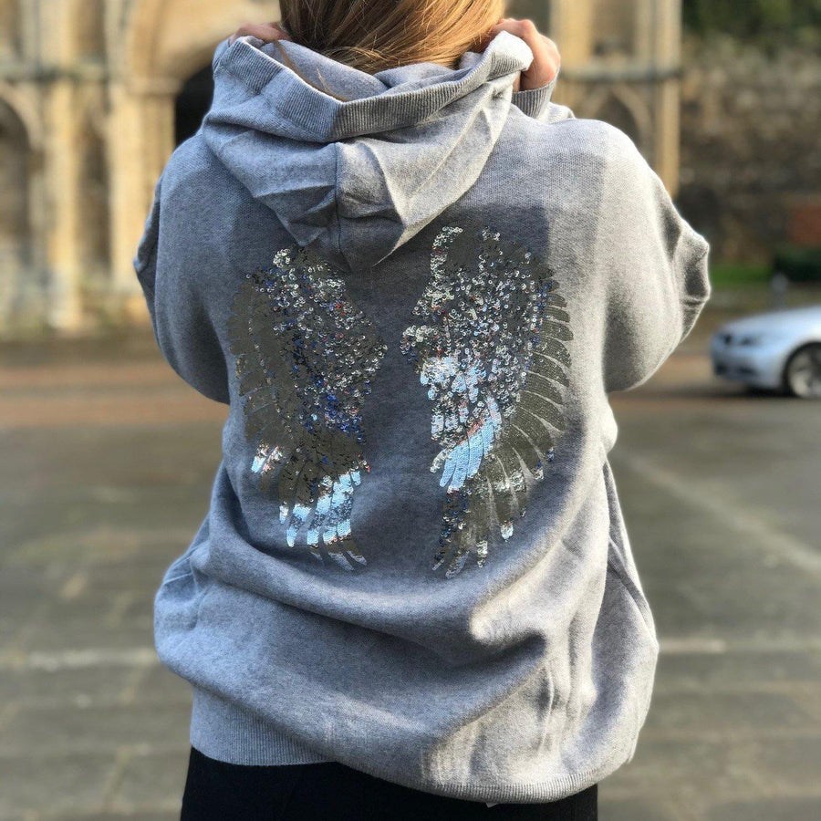 sequin wings knit hoodie - JAVELIN