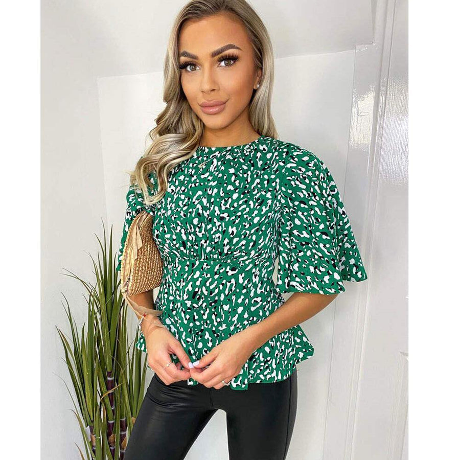 Green Abstract Printed Flared Blouse - JAVELIN