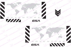"BMW GSA Adventure Motorcycle Reflective Decal Kit ""World Adventure in Silver"" for Touratech Panniers"