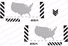 BMW GSA Adventure Motorcycle Reflective Chevron Decal Kit USA Adventure Map in Grey for Touratech Panniers