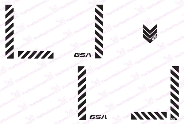 BMW GSA Adventure Motorcycle Reflective Chevron Graphics Kit for Touratech Panniers