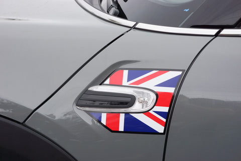 Mini Cooper and Cooper S Hard Top (2014 to Current) Union Jack A Panel Decal Kit - Red / White / Blue