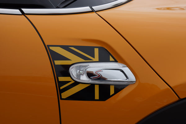 Mini Cooper and Cooper S Hard Top (2014 to Current) Union Jack A Panel Decal Kit - Black / Gold