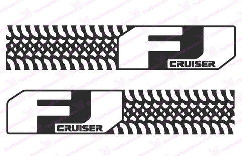 "Toyota FJ Cruiser ""Tire Design"" Negative Door Decal Kit"