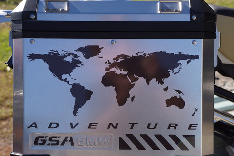 BMW GSA Adventure Motorcycle Reflective Decal Kit World Adventure for Touratech Panniers