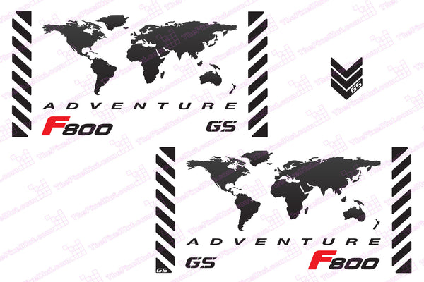 "BMW GS Motorcycle Reflective Decal Kit ""F800 World Adventure Map"" for Touratech Panniers"