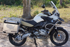 BMW GSA Adventure Motorcycle Reflective Decal Kit USA Adventure in Silver for Touratech Panniers