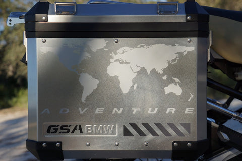 BMW GSA Adventure Motorcycle Reflective Decal Kit World Adventure in Silver for Touratech Panniers