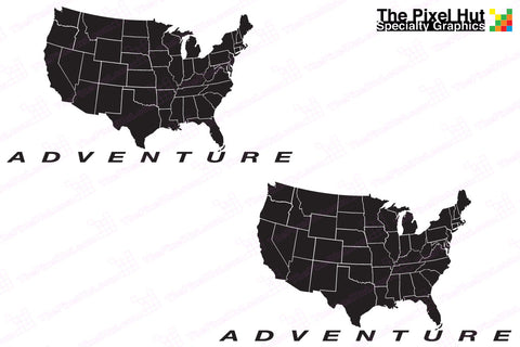 "BMW GS Adventure Motorcycle Decal Kit ""USA Adventure Map"" for Touratech Panniers"