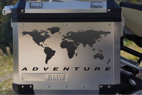 "Motorcycle Reflective Decal Kit ""World Adventure Map"" for Panniers"