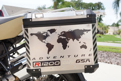 BMW GSA Adventure Motorcycle Reflective Decal Kit World Adventure R1200 for Touratech Panniers
