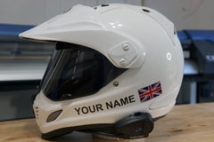 "Custom Helmet Decal Kit ""Your Name with Worn UK Flag"""