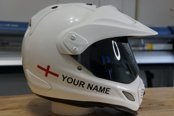 "Custom Helmet Decal Kit ""Your Name with Saint George Cross Flag"""