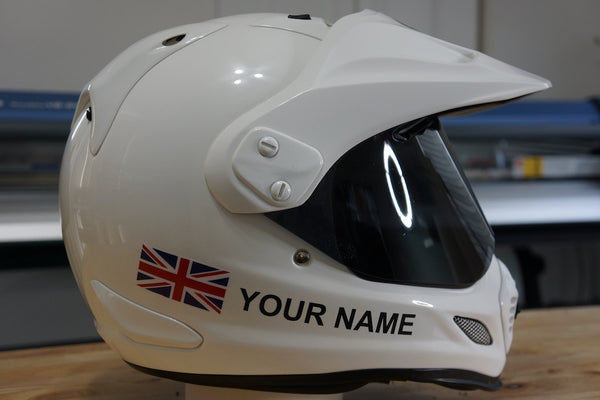 "Custom Helmet Decal Kit ""Your Name with UK Flag"""