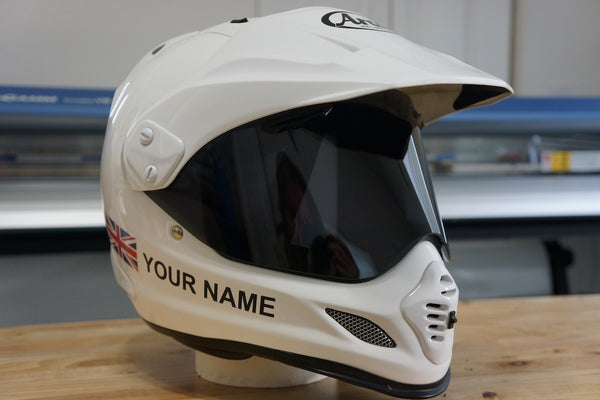 Custom helmet decal kit your name with uk