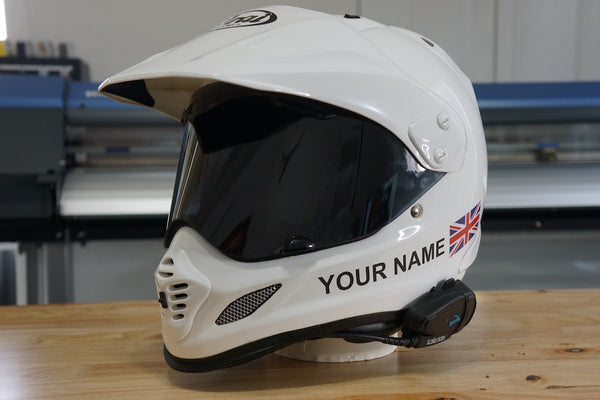 Helmet Graphics Kit Custom Your Name With UK Flag The Pixel Hut - Motorcycle helmet decals kits