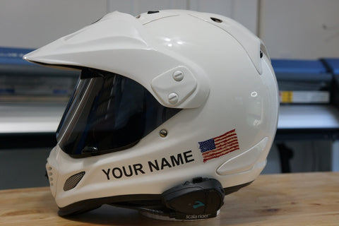 "Custom Helmet Decal Kit ""Your Name with Painted look USA Flag"""
