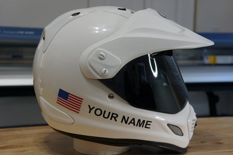 "Custom Helmet Decal Kit ""Your Name with USA Flag"""